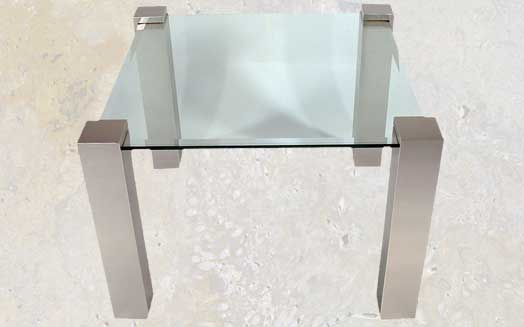 Etonnant 103et  Unique Brushed Metal Square Leg End Table